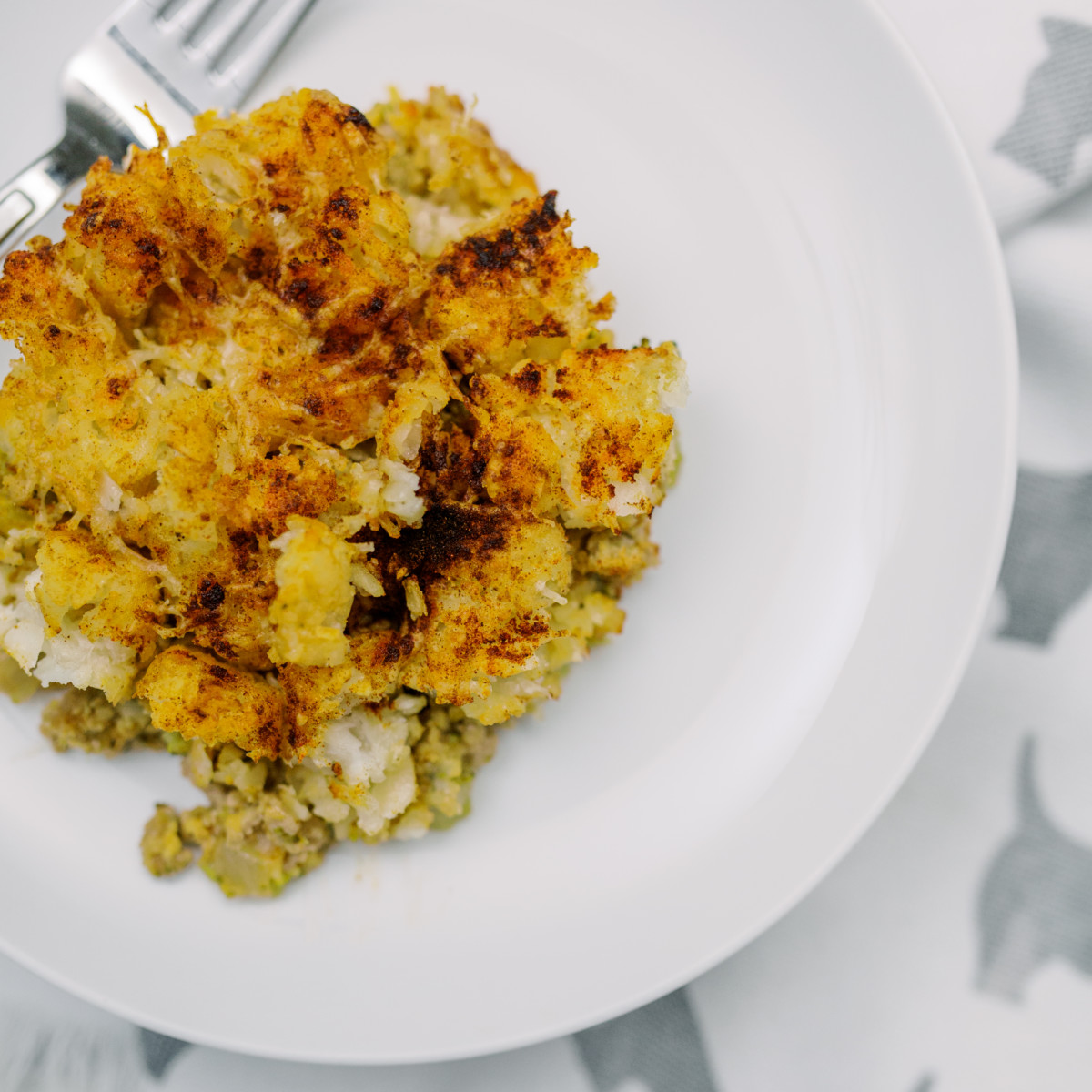 Turkey Tater Tot Casserole on plate
