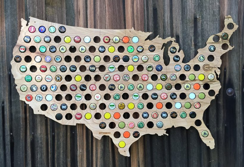Beer Cap Map USA 14 Creative Valentine's Day Ideas for Him - Her Heartland Soul
