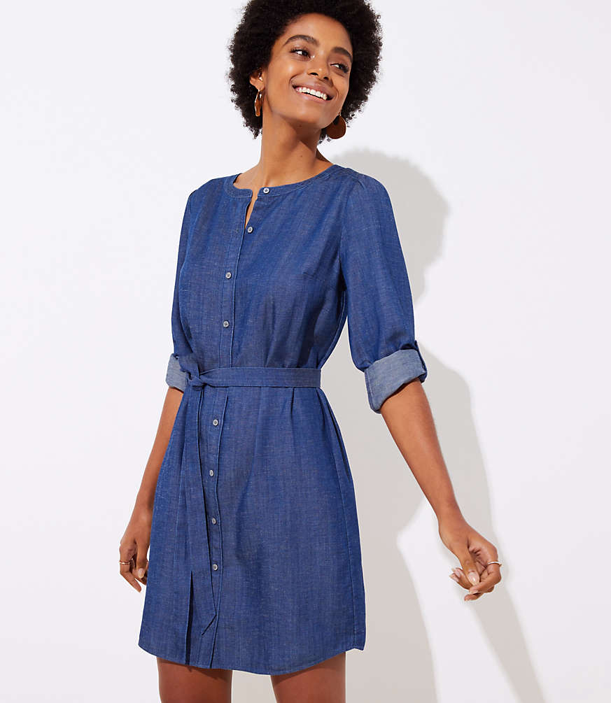 Chambray Shirt Dress for Fall - Her Heartland Soul
