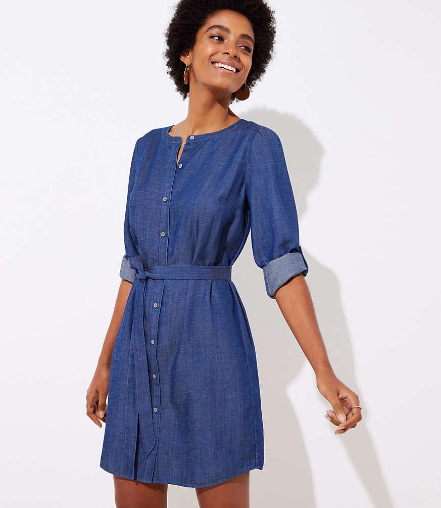 Chambray Shirt Dress for Fall - Her Heartland Soul