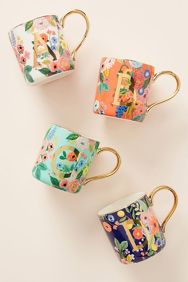 Rifle Paper Co. for Anthropologie Garden Party Monogram Mug - Christmas Gift Ideas for Her - Her Heartland Soul