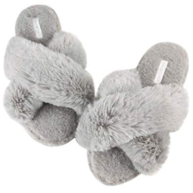 Women's Cross Band Soft Plush Fleece House/Outdoor Slippers - Christmas gift ideas for her - Her Heartland Soul