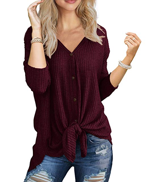 Waffle Knit Knot Henley - Christmas Gift Ideas for Her - Her Heartland Soul