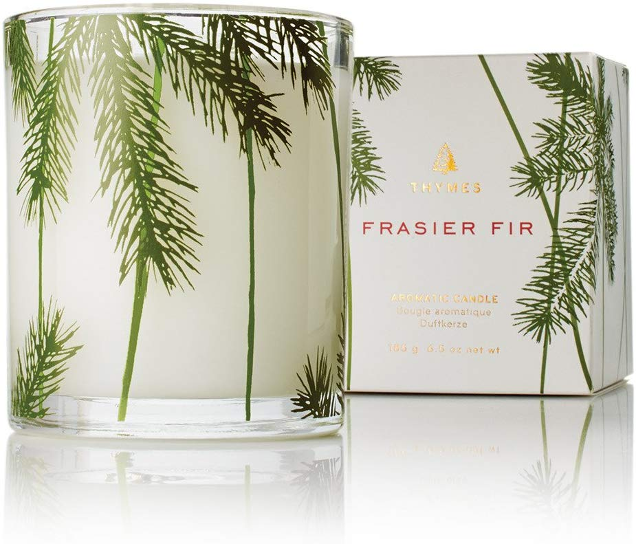 Thymes Frasier Fir, 6.5 oz, White Candle - Christmas Gift Ideas for Her - Her Heartland Soul