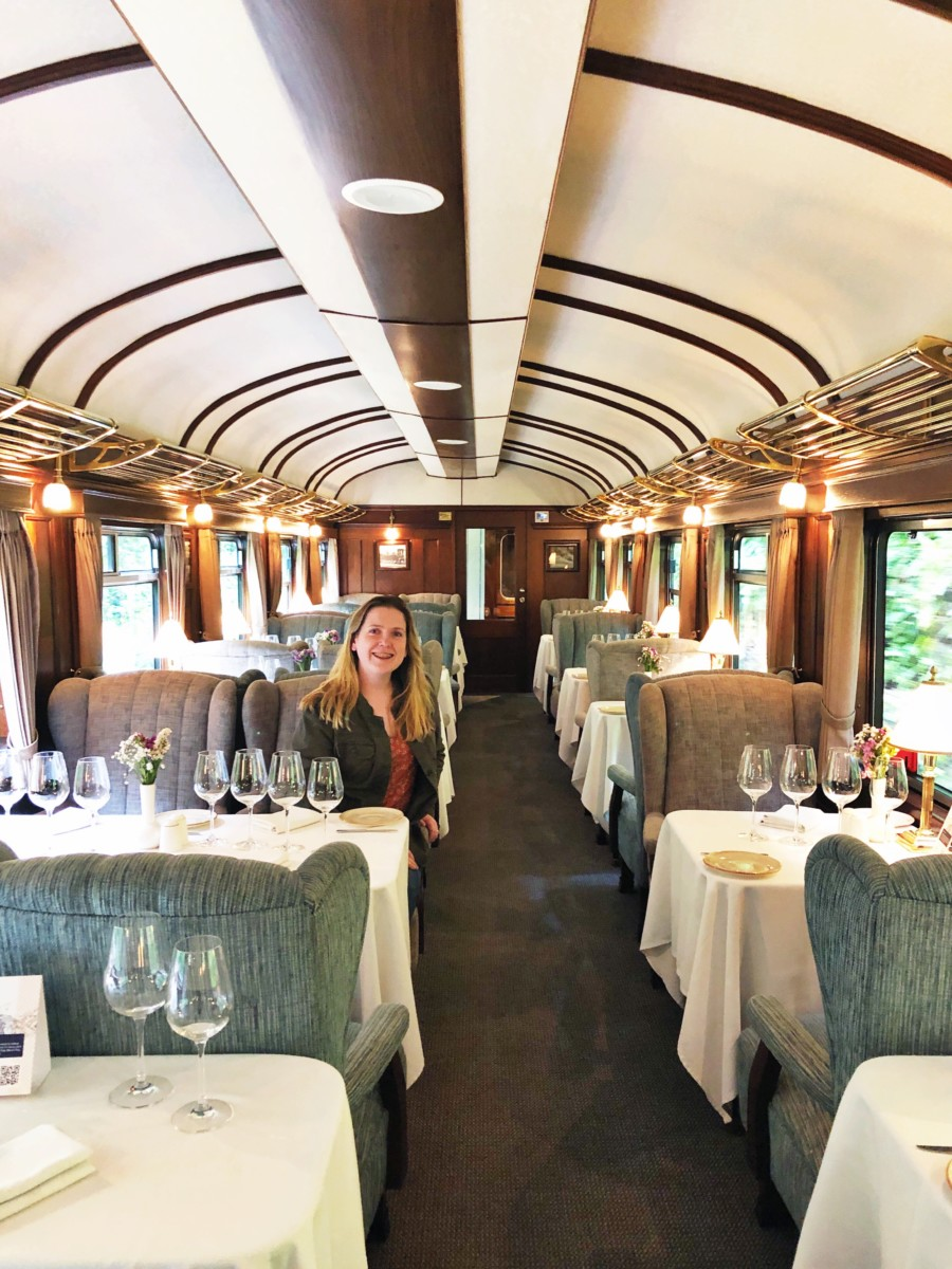 Girl in dining cart of Sacred Valley train to Machu Picchu
