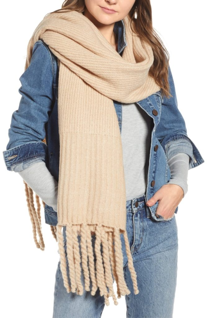Free People Jaden Rib Knit Blanket Scarf - Christmas Gift Ideas for Her - Her Heartland Soul