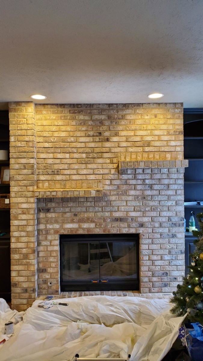 Before whitewashing a brick fireplace - Her Heartland Soul