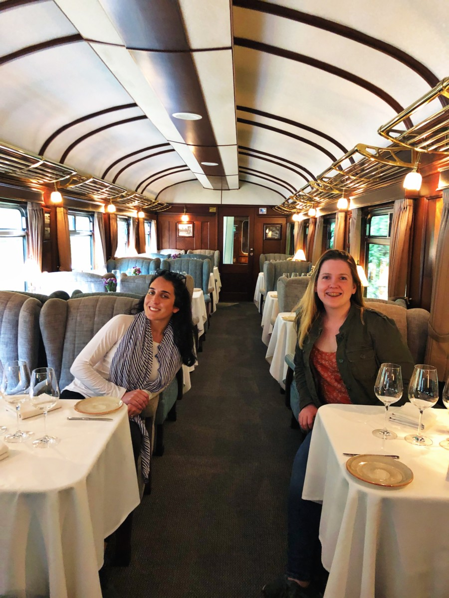 Girls sitting in dining room on train