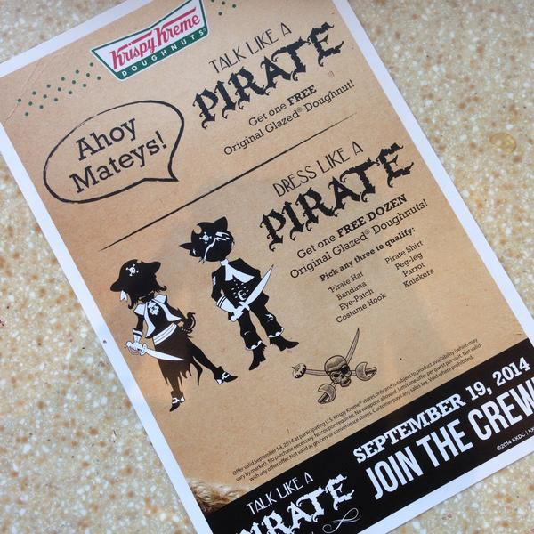 Talk Like A Pirate Day Krispy Kreme Her Heartland Soul