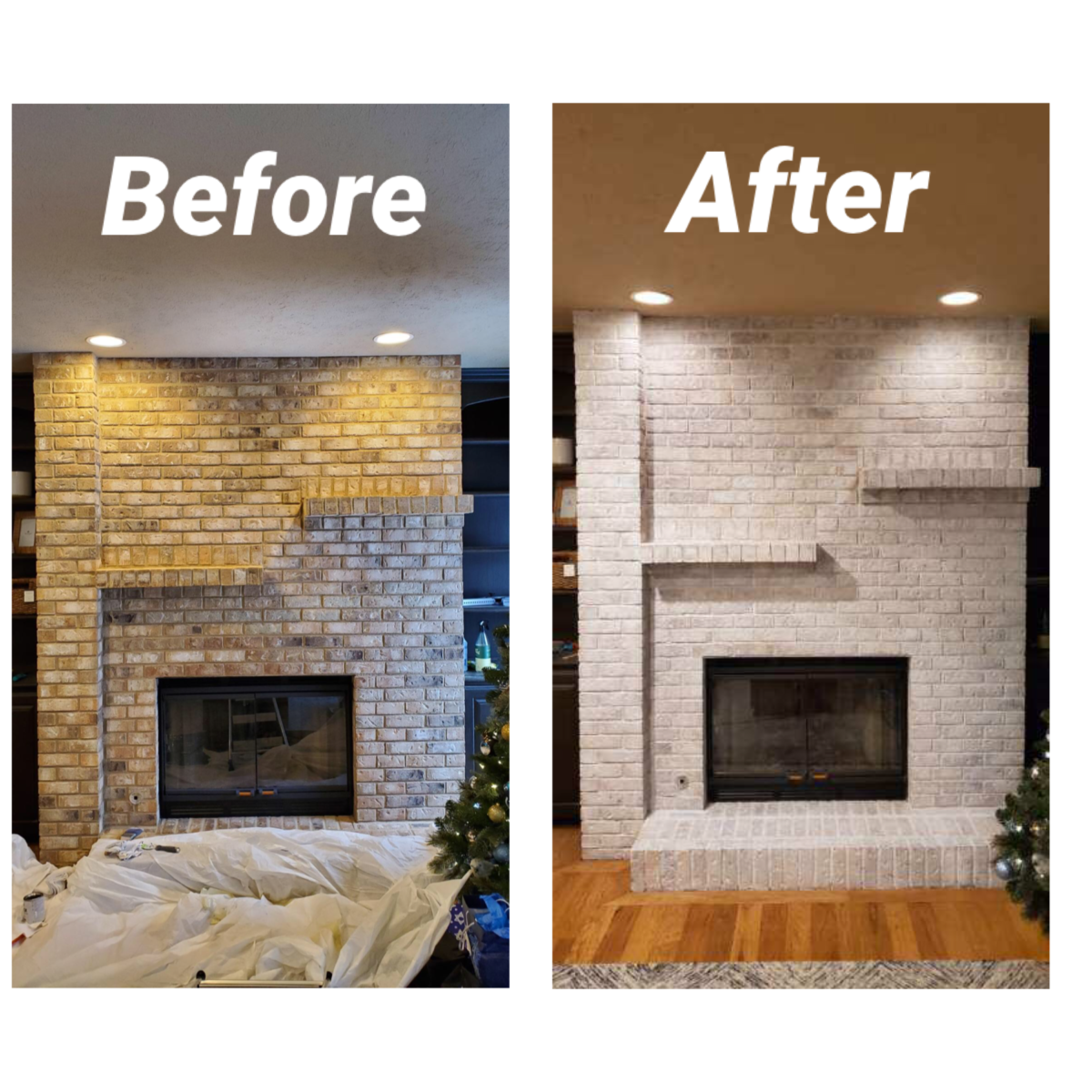 Before and after whitewashing a brick fireplace - Her Heartland Soul
