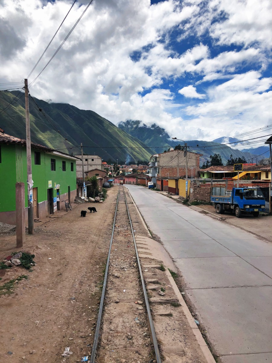 A town in Sacred Valley seen via train on the way to Machu Picchu