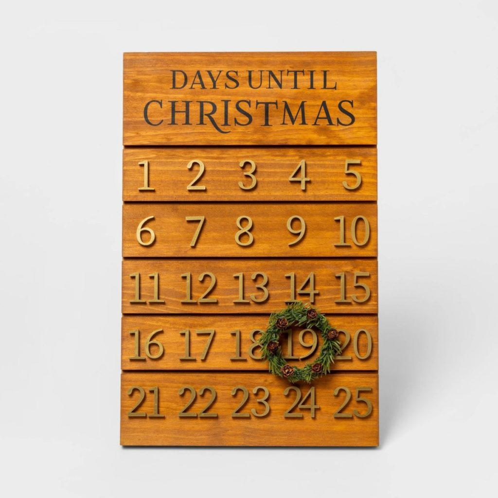 Wooden Advent Calendar with Wreath Brown/Gold - Threshold - Christmas Gift Ideas for Her - Her Heartland Soul