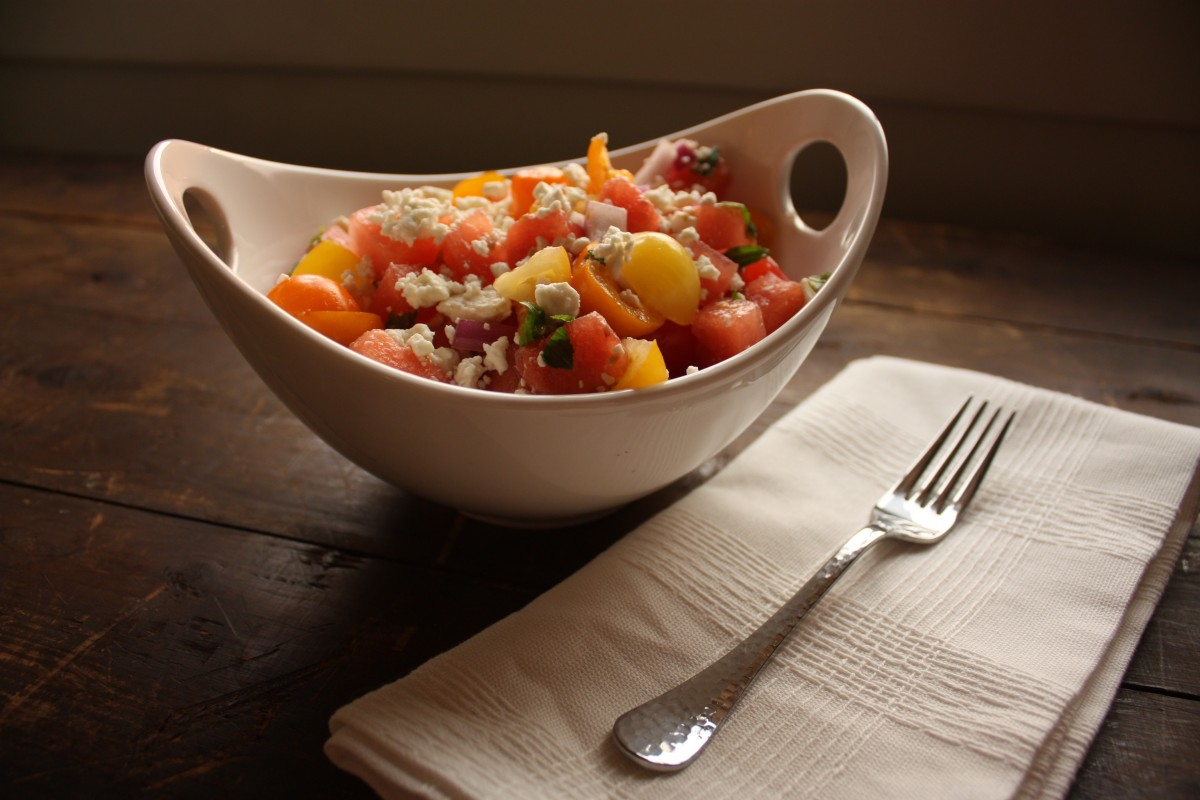 heirloom tomato and watermelon salad her heartland soul