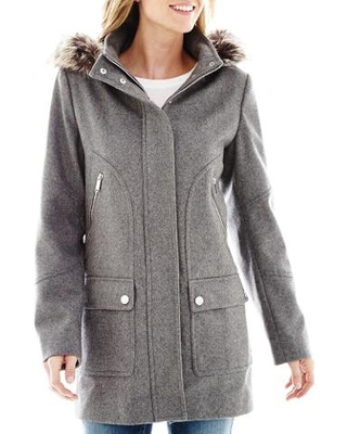 JCPenney a.n.a® Faux-Fur Trim Hood Wool-Blend Coat