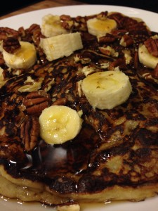 Bananas Foster Pancakes Girl Gone Veggie Erin Fairchild Stonyfield Greek yogurt