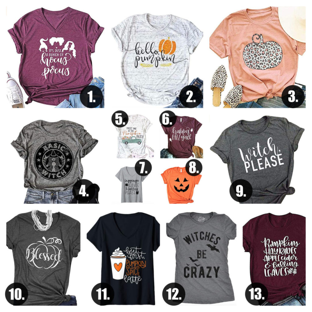 Halloween and Fall Amazon Tee Picks Under $20